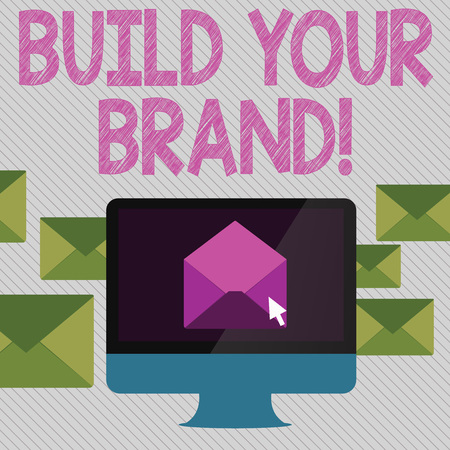 Conceptual hand writing showing Build Your Brand. Concept meaning creates or improves customers knowledge and opinions of product Open Envelope inside Computer Letter Casing Surrounds the PC