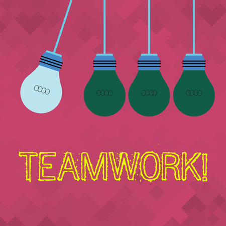 Text sign showing Teamwork. Business photo showcasing combined action of group especially when effective and efficient Color Incandescent Pendant Bulb Hanging with One Different Shade Lightbulb