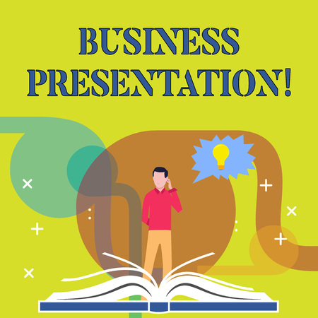 Conceptual hand writing showing Business Presentation. Concept meaning Demonstration or to present a new idea or product Man Standing Behind Open Book Jagged Speech Bubble with Bulb