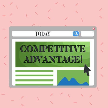 Text sign showing Competitive Advantage. Business photo showcasing Condition that puts a company in a favorable position Blank Template of Pastel Colorful Website Layout Design for Homepage Format
