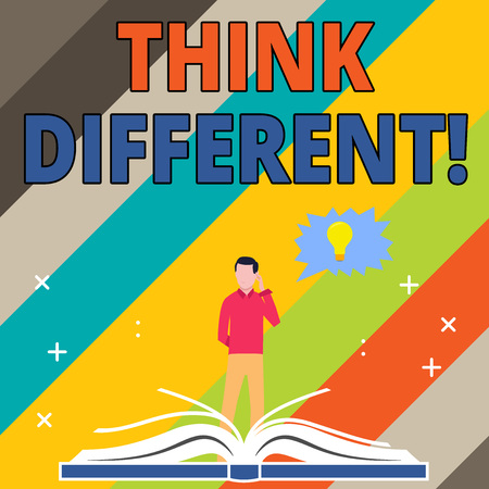 Word writing text Think Different. Business photo showcasing direct ones mind towards someone or something uniquely Man Standing Behind Open Book, Hand on Head, Jagged Speech Bubble with Bulb