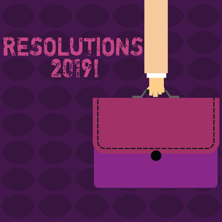 Handwriting text Resolutions 2019. Conceptual photo promise yourself to do or to not doing something this year Businessman Hand Carrying Colorful Briefcase Portfolio with Stitch Applique