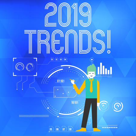 Text sign showing 2019 Trends. Business photo showcasing general direction in which something is developing or changing Man Standing Holding Pen Pointing to Chart Diagram with SEO Process Icons Stock Photo