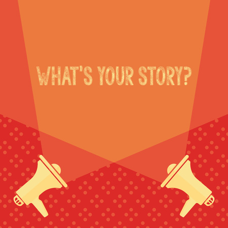Word writing text What S Your Story Question. Business photo showcasing asking demonstrating about his past life actions events Blank Double Spotlight Crisscrossing Upward from Two Megaphones on the Floor