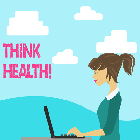 Handwriting text Think Health. Conceptual photo state of complete physical mental and social well being photo of Young Busy Woman Sitting Side View and Working on her Laptop