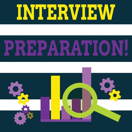 Writing note showing Interview Preparation. Business concept for Candidate getting ready for the employer job dialogue Magnifying Glass On Chart beside Cog Wheel Gear for Analysis