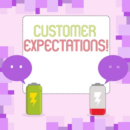 Conceptual hand writing showing Customer Expectations. Concept meaning Perceivedvalue clients seek from the buying of a good Fully Charge and Discharge Battery with Emoji Speech Bubble