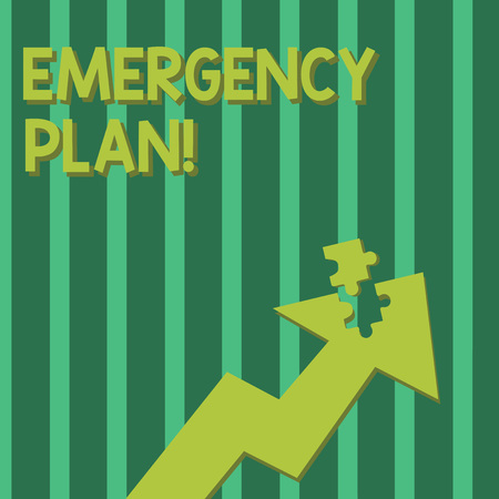 Conceptual hand writing showing Emergency Plan. Concept meaning actions developed to mitigate damage of potential events Arrow Pointing Up with Detached Part Jigsaw Puzzle Piece Imagens