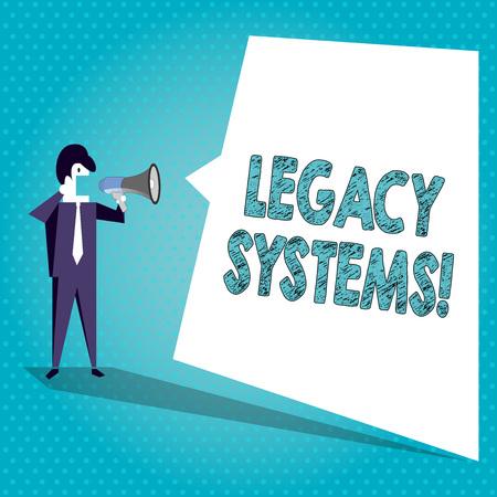 레거시 시스템을 보여주는 텍스트 기호. 비즈니스 사진 텍스트 오래된 방법 기술 컴퓨터 시스템 또는 응용 프로그램 사업가 확성기와 빈 흰색 고르지 않은 모양 연설 거품에 외침 스톡 콘텐츠