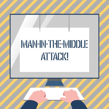 Writing note showing Man In The Middle Attack. Business concept for Communication between two users is monitored Hands on Keyboard Front White Monitor with Screen Protector