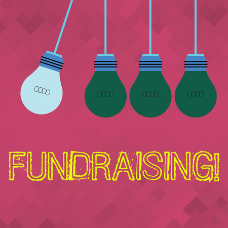 Text sign showing Fundraising. Business photo showcasing seeking to generate financial support for charity or cause Color Incandescent Pendant Bulb Hanging with One Different Shade Lightbulb