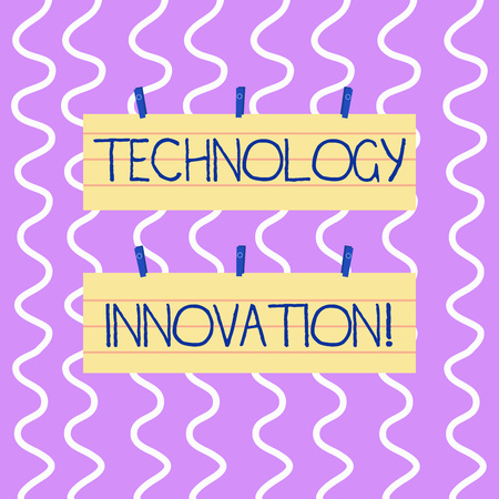 Conceptual hand writing showing Technology Innovation. Concept meaning significant technical changes of product and processes Strip Size Lined Paper Sheet Hanging Using Blue Clothespin