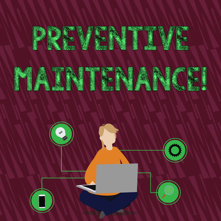 Handwriting text Preventive Maintenance. Conceptual photo Routine maintenance to help keep equipment up Woman Sitting Crossed Legs on Floor Browsing the Laptop with Technical Icons