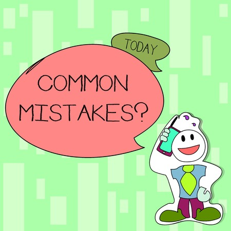 Handwriting text writing Common Mistakes question. Conceptual photo repeat act or judgement misguided or wrong Smiley Face Man in Necktie Holding Smartphone to his Head in Sticker Style Stock Photo