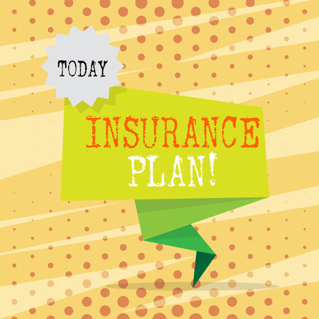 Conceptual hand writing showing Insurance Plan. Concept meaning provide benefits like risk cover fixed income return safety Two Tone Green Folded Back Banner Strip with Stamp Sticker