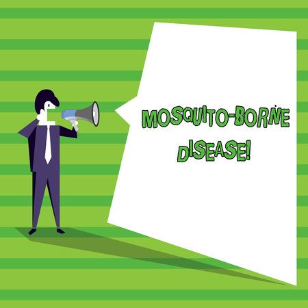 Word writing text Mosquito Borne Disease. Business photo showcasing illnesses caused parasites transmitted by mosquitoes Businessman Shouting on Megaphone and Blank White Uneven Shape Speech Bubble Stock Photo