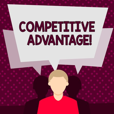Word writing text Competitive Advantage. Business photo showcasing Condition that puts a company in a favorable position Faceless Man has Two Shadows Each has Their Own Speech Bubble Overlapping