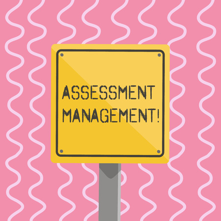 Text sign showing Assessment Management. Business photo showcasing analysisagement of investments on behalf of others 3D Square Blank Colorful Caution Road Sign with Black Border Mounted on Wood