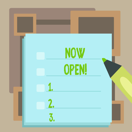 Handwriting text Now Open. Conceptual photo leave door or windows not closed or barred at this current time Blank Colorful To Do Check List Planner Sheets with Tick Box and Marker Pen Banque d'images - 121182419