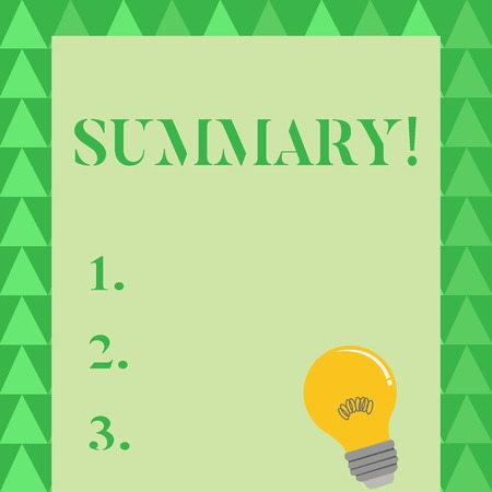 Conceptual hand writing showing Summary. Concept meaning brief statement or account of main points of something subject Light Bulb with Filament Inside Resting on Blank Color Paper Imagens