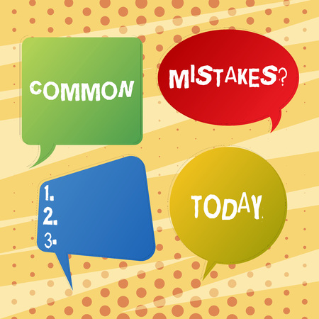Handwriting text writing Common Mistakes question. Conceptual photo repeat act or judgement misguided or wrong Blank Speech Bubble Sticker in Different Shapes and Color for Multiple Chat