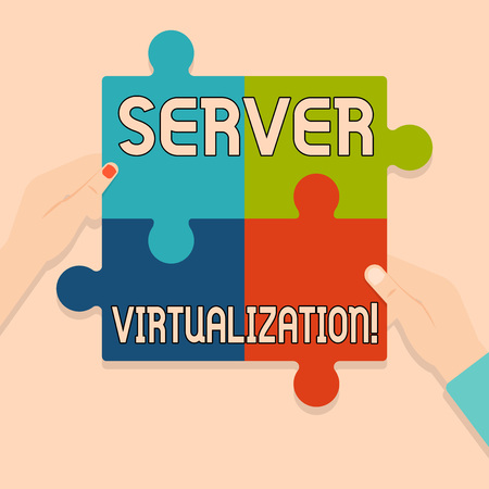 Writing note showing Server Virtualization. Business concept for allow for more than one server to run on same hardware Multi Color Jigsaw Puzzle Pieces Put Together by Human Hands Imagens