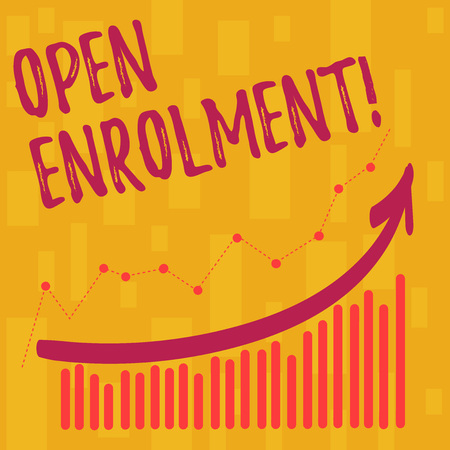Text sign showing Open Enrolment. Business photo showcasing student public school other than one assigned basis residence Combination of Colorful Column and Line Graphic Chart with Arrow Going Up