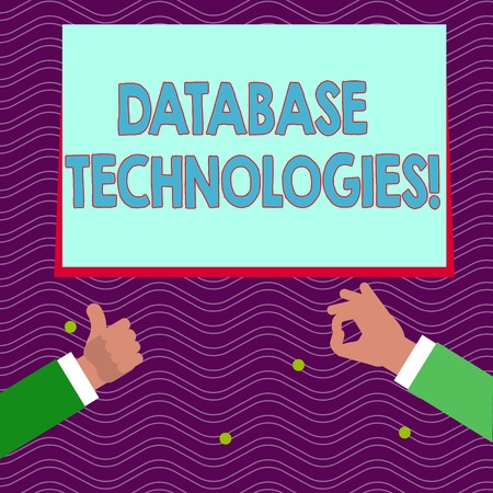 Text sign showing Database Technologies. Business photo text Organization of a collection of data in digital format Two Businessmen Hands Gesturing the Thumbs Up and Okay Sign for Promotion Imagens