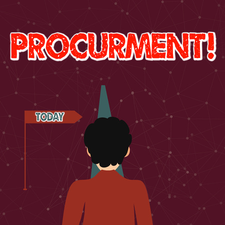 Handwriting text Procurment. Conceptual photo action of acquiring military equipment and supplies Man Facing the Distance Ahead and Blocking the View of Straight Narrow Path