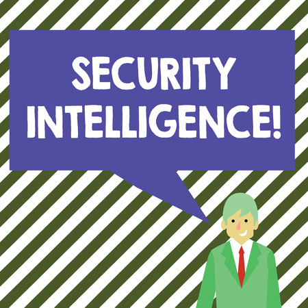 Word writing text Security Intelligence. Business photo showcasing protecting an organization from threats and risks Businessman Smiling and Talking with Blank Rectangular Color Speech Bubble