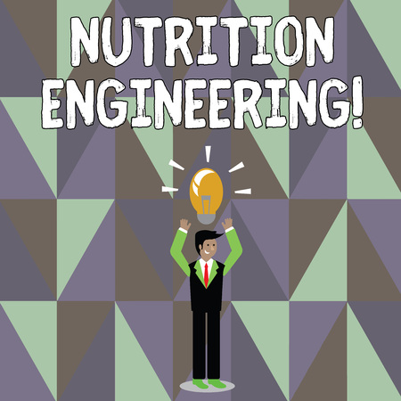 Word writing text Nutrition Engineering. Business photo showcasing Focused on improving the nutritional profile of a food Businessman Standing Raising Arms Upward with Lighted Bulb Icon on his Head