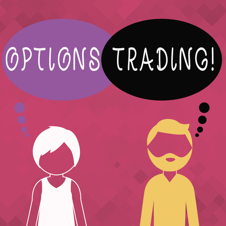 Word writing text Options Trading. Business photo showcasing seller gives buyer right but not obligation buy sell shares Bearded Man and Woman Faceless Profile with Blank Colorful Thought Bubble