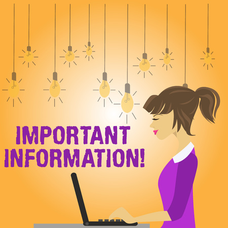 Writing note showing Important Information. Business concept for valuable facts provided about something or someone photo of Young Busy Woman Sitting Side View and Working on her Laptop