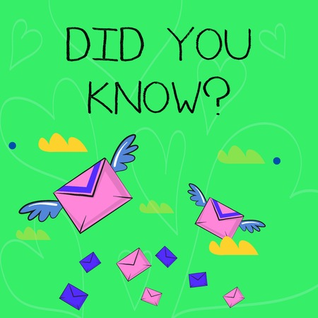 Conceptual hand writing showing Did You Know Question. Concept meaning when you are asking someone if they know fact or event Colorful Airmail Letter Envelopes and Two of Them with Wings Reklamní fotografie