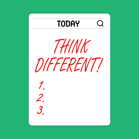 Handwriting text Think Different. Conceptual photo direct ones mind towards someone or something uniquely Search Bar with Magnifying Glass Icon photo on Blank Vertical White Screen