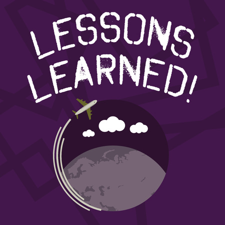 Text sign showing Lessons Learned. Business photo showcasing learning gained from process of performing project Airplane with Moving Icon Flying Around Colorful Globe and Blank Text Space
