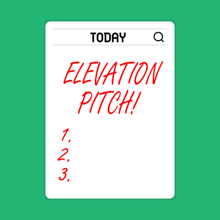 Handwriting text Elevator Pitch. Conceptual photo short description of product business idea given to investor Search Bar with Magnifying Glass Icon photo on Blank Vertical White Screen