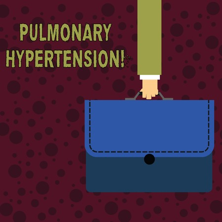 Conceptual hand writing showing Pulmonary Hypertension. Concept meaning Elevated pressure in the pulmonary circulation Businessman Carrying Colorful Briefcase Portfolio Applique Foto de archivo - 121173809