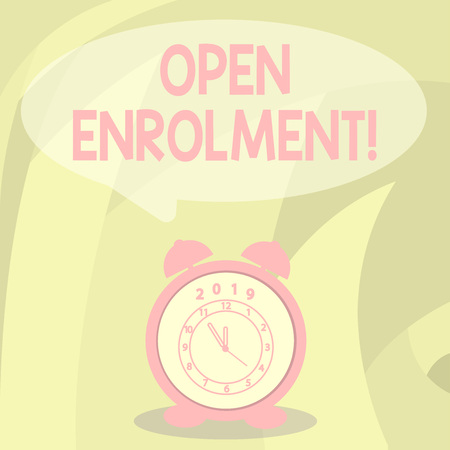 Word writing text Open Enrolment. Business photo showcasing student public school other than one assigned basis residence Round Blank Speech Balloon in Pastel Shade and Colorful Analog Alarm Clock