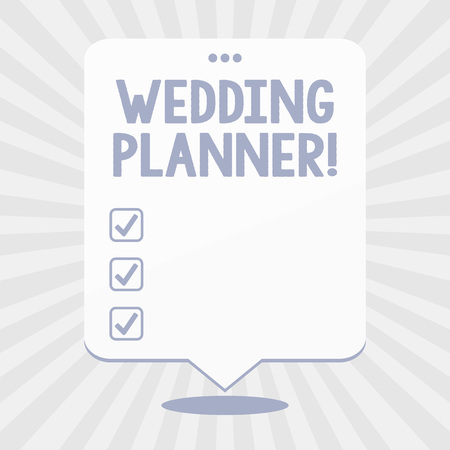 Word writing text Wedding Planner. Business photo showcasing professional who assists with design planning and analysisagement Blank Space White Speech Balloon Floating with Three Punched Holes on Top