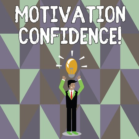 Word writing text Motivation Confidence. Business photo showcasing Level of desire to accomplish a specified outcome Businessman Standing Raising Arms Upward with Lighted Bulb Icon on his Head