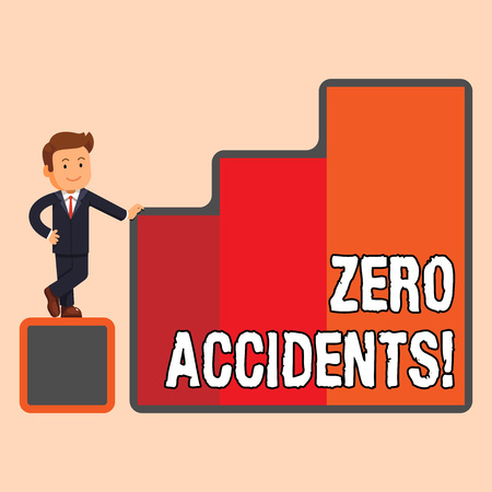 Handwriting text Zero Accidents. Conceptual photo important strategy for preventing workplace accidents Happy Businessman Presenting Growth and Success in Rising Bar Graph Columns Stock Photo