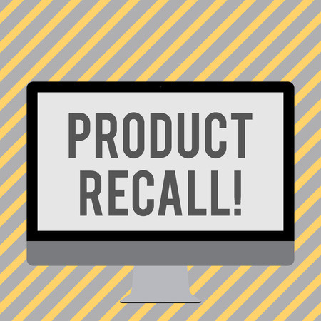 Conceptual hand writing showing Product Recall. Concept meaning request analysisufacturer return product after discovery issues White Computer Monitor WideScreen on a Stand for Technology