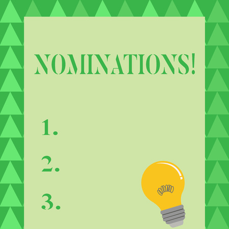 Conceptual hand writing showing Nominations. Concept meaning action of nominating or state being nominated for prize Light Bulb with Filament Inside Resting on Blank Color Paper Stock Photo