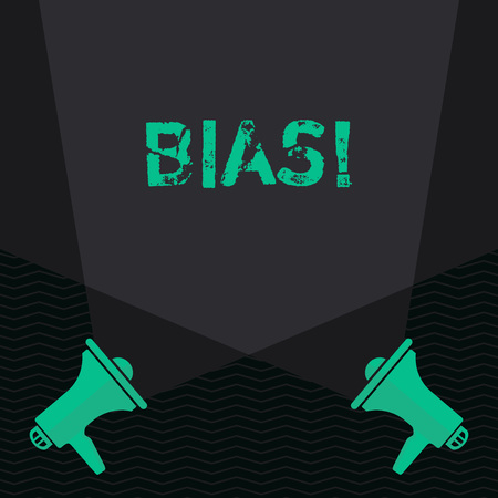 Conceptual hand writing showing Bias. Concept meaning inclination or prejudice for or against one demonstrating group Blank Spotlight Crisscrossing Upward Megaphones on the Floor