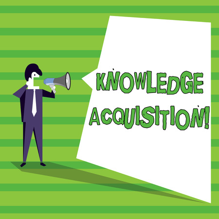 Word writing text Knowledge Acquisition. Business photo showcasing process of extracting knowledge from one source Businessman Shouting on Megaphone and Blank White Uneven Shape Speech Bubble Stock fotó