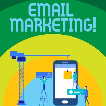 Conceptual hand writing showing Email Marketing. Concept meaning act of sending commercial message typically group of showing Staff Working Together for Target Goal with SEO Process Icons