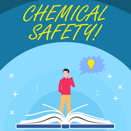 Handwriting text Chemical Safety. Conceptual photo practice minimizing risk exposure chemicals any environment Man Standing Behind Open Book, Hand on Head, Jagged Speech Bubble with Bulb