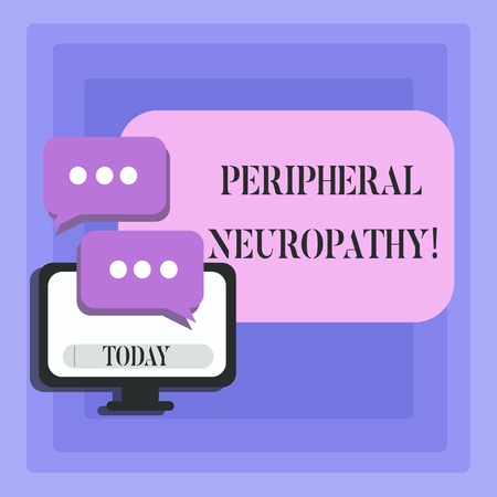 Handwriting text Peripheral Neuropathy. Conceptual photo condition or disease affecting the peripheral nerves Blank Computer Monitor and Two Speech Balloon with Three Dots for Chat Icon