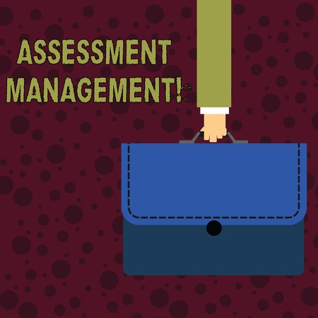 Conceptual hand writing showing Assessment Management. Concept meaning analysisagement of investments on behalf of others Businessman Carrying Colorful Briefcase Portfolio Applique